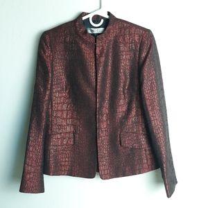 Kasper suit jacket open front mandarin collar